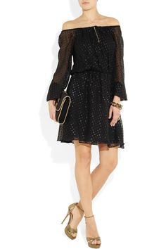 Short black silk georgette dress with off the shoulder sleeves from Halston Heritage.
