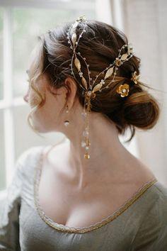 Wedding Hairstyles :   Illustration   Description   Gold Bridal Accessories from Erica Elizabeth Designs – Deer Pearl Flowers / www.deerpearlflow…    -Read More –   - #WeddingHairstyle https://adlmag.net/2017/12/18/wedding-hairstyles-gold-bridal-accessories-from-erica-elizabeth-designs-deer-pearl-flowers-www-2/