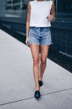 summer chic in @shopredone denim shorts, @vince mule slides | THE AUGUST DIARIES
