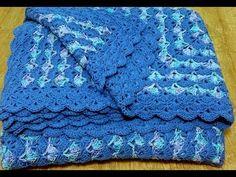 Háčkovaná deka s mušličkovým vzorom - modrá, Crochet blanket with shell pattern - YouTube Blanket, Crochet, Youtube, Ganchillo, Blankets, Cover, Crocheting, Comforters, Knits