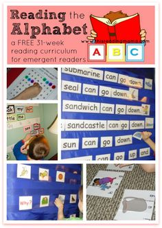 the Alphabet: a FREE PreK Reading Curriculum Reading the Alphabet: a FREE Reading Curriculum for Emergent Readers ~ Perfect for After the ABC's Emergent Literacy, Emergent Readers, Preschool Curriculum, Preschool Learning, Fun Learning, Homeschooling, Preschool Calendar, Learning Centers, Preschool Lessons