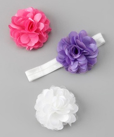 Take a look at this White & Lavender Flower Headband Set by Happisnappi on #zulily today!