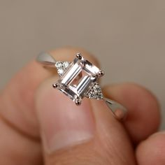 Morganite Ring Engagement Ring Emerald Cut Sterling Silver Promise Ring Pink Morganite Ring by KnightJewelry on Etsy https://www.etsy.com/listing/467407358/morganite-ring-engagement-ring-emerald