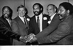 NFL FOOTBALL PLAYERS, at Sports banquet in Oakland, Ca (left to right) Mac Arthur Lane, Kansas City Chiefs, & Green Bay Packers, Oakland Raider's Jim Otto, Ray Chester, Daryle Lamonica, and Jack Tatum..(1975 photo by Ron Riesterer)