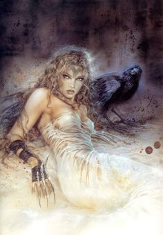 Shiera Seastar and Bloodraven's pet raven. Its name is Quoth. © Luis Royo art.