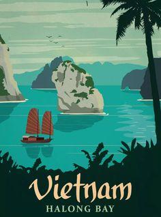 Halong Bay, Vietnam #vintageposters