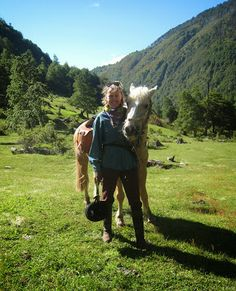 Sophie Neville with the palamino pony she rode through Chile in South America.