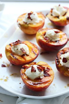 Brown Sugar Grilled Peaches with Ricotta, Honey and Crispy Prosciutto
