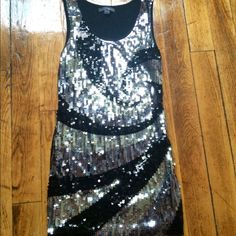 Black/Silver Sequin Mini Dress/Top