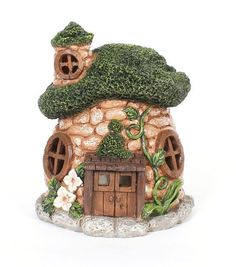Bloom Room Littles Resin Cobblestone House Clay Fairy House, Fairy Garden Houses, Gnome House, Clay Projects, Clay Crafts, Polymer Clay Fairy, House Lamp, Fairy Village, Fairy Crafts