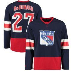08454de13d3 Ryan McDonagh New York Rangers Reebok Edge Long Sleeve Jersey T-Shirt - Blue