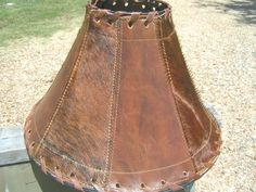 Western lamp shades rawhide lamp shade wleather laced trim cowhide leather western lamp shade rustic 1355 aloadofball Image collections