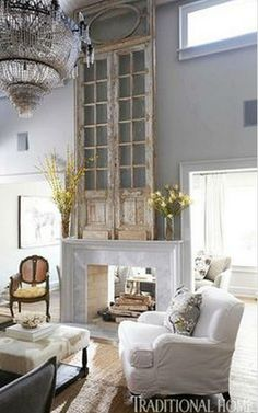 South Shore Decorating Blog: Weekend Roomspiration 4-12-14  ...( Clever use of the door frame as an art fixture. Great idea for super high walls. G.S.)