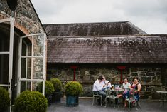 Guests enjoying the summer warmth and their drinks outside the Orangery Drink Table, Post Box, Bar Areas, Reception Areas, Open Up, Blue Moon, Northern Ireland, White Walls, Countryside