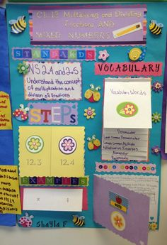 An idea for a small math bulletin board?  Expectations, vocabulary, examples?