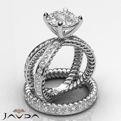 Bridal Set Round Natural Diamond Engagement Ring GIA F VS1 14k White Gold 3.42ct