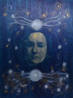 This piece is made with a technique called Cyanotype, which is an old photographic process, applied on pine wood, intervened with iridescent inks and acrylics. Inspired by star clusters, nebulae and ethereal materials. Female image as part of the cosmos.