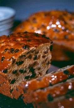 """Bara Brith, sometimes known as """"speckled bread"""" (, can be either a yeast bread enriched with dried fruit or something more like a fruitcake made with self-raising flour"""