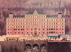 The exterior of the hotel is a miniature model created by set designer Adam Stockhausen. Photography by 20th Century Fox.