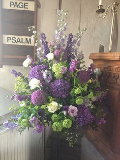 Wedding - Lilacs and Limes arrangement steve hates Church Wedding Flowers, Altar Flowers, Church Wedding Decorations, Purple Wedding Flowers, Funeral Flowers, Silk Flowers, Wedding Centerpieces, Floral Wedding, Gerbera Wedding
