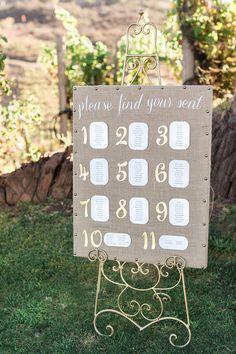 DIY burlap seating chart. @weddingchicks