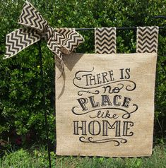Embroidered Burlap Garden Flag  There's No by sewgoddesscreations