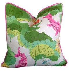 Stunning chinoiserie lotus chintz cushion cover with pink piping