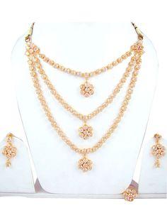 Indian Bridal Jewelry  Gold Tone Cubic Zircon 3 Strand Necklace Set $38.00 Rhinestone Necklace, Crystal Rhinestone, Gold Necklace, Strand Necklace, Necklace Set, Bridal Jewelry, Prom Jewelry, Bollywood Jewelry, Indian Bridal