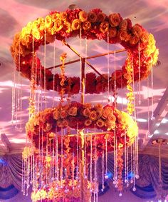 Magnificent floral chandelier by Preston Bailey, a beautiful enhancement an elegant fall harvest event