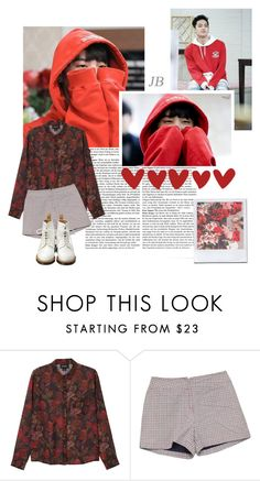 """OPPA!!!  JB "" by sahiarat ❤ liked on Polyvore featuring GET LOST, Monki, Retrò, Dr. Martens, contest, red, kpop, jb and GOT7"
