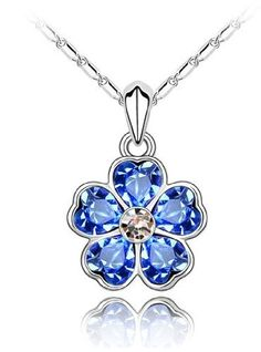 Valentines Day Gifts Swarovski Austrian Crystal Elements Blooming Heart-shaped Flower Pendant Necklace - 18 Inch Chain 18k True Platinum Electroplate - Deep Blue Supreme Crystal, http://www.amazon.com/dp/B0086PAG3C/ref=cm_sw_r_pi_dp_64Lmrb14FYK8T
