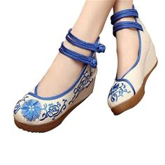 CHINESE EMBROIDERED SHOES WOMEN BALLERINA COTTON ELEVATOR SHOES BLUE
