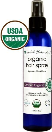 Organic Hair Spray; USDA Certified Organic Alcohol Free Hair Spray that is Copolymer Free, GMO Free, Gluten Free, Cruelty Free and Vegan.