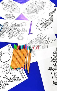 7 Jewish High Holidays Coloring Pages for Adults - Printable PDF Colouring Pages - Rosh Hashanah Yom Kippur Sukkot - Decorations and Crafts Jewish High Holidays, Simchat Torah, Yom Kippur, Printable Adult Coloring Pages, Rosh Hashanah, Hand Illustration, Colouring Pages, Coloring Pages For Kids, Sunday School