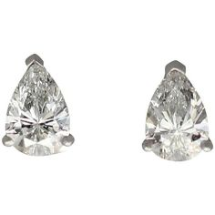 Preowned 1.15ct Pear Cut Diamond And Platinum Stud Earrings -... ($5,264) ❤ liked on Polyvore featuring jewelry, earrings, multiple, claw earrings, pre owned jewelry, platinum jewellery, diamond jewelry and diamond earring jewelry