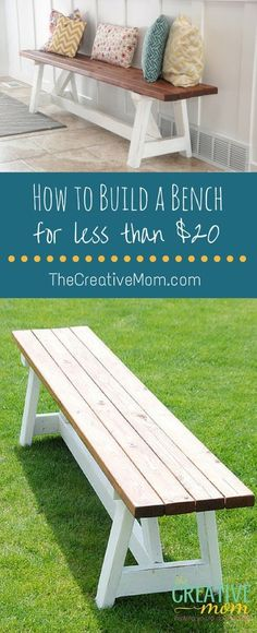 How to build a bench for less than $20. Great for outdoor around fire pit, front porch or entryway.