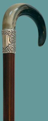 Horn on rosewood with chased silver collar and horn ferrule Wooden Walking Sticks, Walking Sticks And Canes, Walking Canes, Cannes, Shooting Sticks, Walking Staff, Cane Handles, Cane Stick, Wooden Canes
