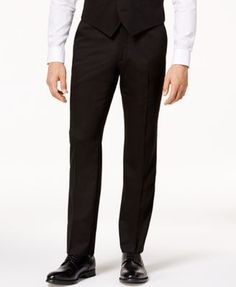 Perry Ellis Men's Slim-Fit Black Vested Stretch Suit - Black 40R