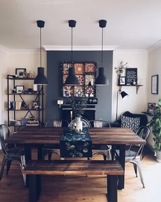 42 Best Dining Room Lighting Ideas For 2019 - Home Decorating Inspiration Dining Room Wall Decor, Dining Room Design, Lounge Decor, Dining Room Lighting Rustic, Dining Room Fireplace, Kitchen Living, Home Living Room, Dining Living Room Combo, Dark Living Rooms
