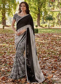Georgette Black and Grey Print Work Casual Saree Crepe Saree, Silk Sarees, Party Sarees, Saree Shopping, Casual Saree, Gowns Online, Printed Sarees, India Fashion