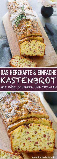 Herzhaftes Kastenbrot mit Käse und Schinken – emmikochteinfach Hearty box bread with cheese, ham and thyme My favorite culinary souvenir is bread for all occasions and for many occasions. It is incredibly easy to do and is perfect as a… Continue Reading → Fall Dinner Recipes, Brunch Recipes, Breakfast Recipes, Cheese Recipes, Fish Recipes, Cake Recipes, Dessert Recipes, Snacks Für Party, Cheese Bread