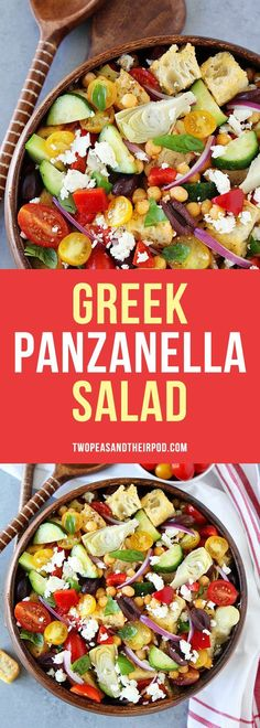 Greek Panzanella Salad made with cubes of crusty bread, tomatoes, cucumbers, chickpeas, artichoke hearts, peppers, olives, red onion, feta cheese, and a simple Greek salad dressing. This easy bread salad is a great side dish to any meal.