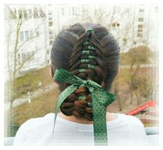 Dutch fishtail with ribbon. ..rolled up to an updo