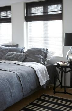 Charcoal linen shades and that bed set, too.