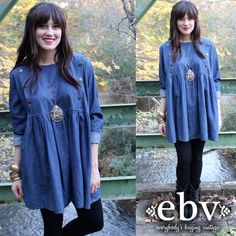 Vintage 90's Denim Babydoll Maternity Mini Dress L XL by shopEBV