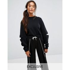 Monki Cold Elbow Sweatshirt (€33) ❤ liked on Polyvore featuring tops, hoodies, sweatshirts, black, crewneck sweatshirt, crew neck crop top, cotton sweatshirts, long-sleeve crop tops and cotton crew neck sweatshirt