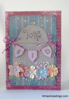 "'Happy Eid' Card (IGHME071301), card size 5"" x 7"".  See card inside at http://sitinuriatistudio.blogspot.com/"