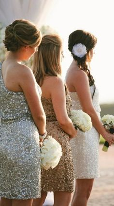 Sparkly Sequin Bridesmaid Dresses - Wedding Inspirations