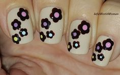 #Brown #Flowers #Nail #Design Over #Beige #Nails