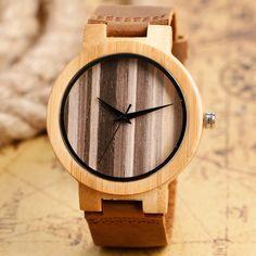 13.95$  Watch here - http://alivyw.shopchina.info/go.php?t=32760455092 - 2016 Simple Genuine Leather Band Wood Watch Relojes Montre Coffee Dial Wristwatch Men Quartz-watch Women Sports Clock  #magazineonline